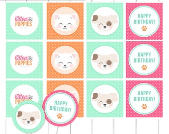 Kitten & Puppy Birthday Party - Pink Mint and Orange -  Cupcake Toppers, Stickers, Printable Tags - INSTANT Download