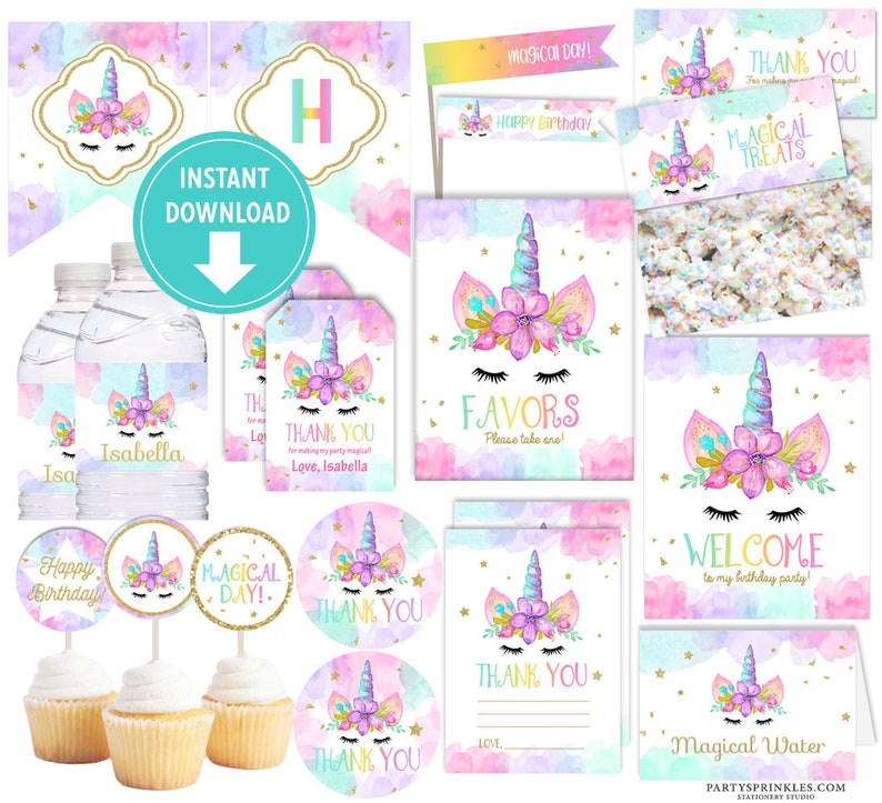 Unicorn Birthday Party Collection Kit Unicorn Tags Unicorn image 0