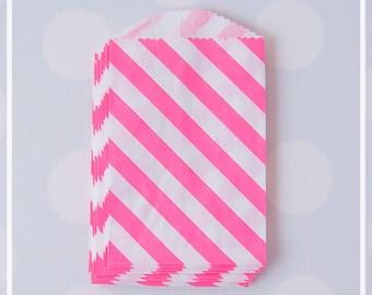Pink Lemonade Diagonal Stripes FAVOR BAGS - Mini, Small, gift, treat goodie bags