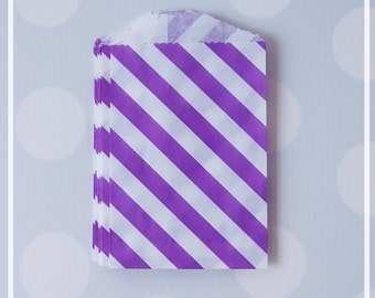 Purple Diagonal Stripes FAVOR BAGS - Mini, Small, gift, treat goodie bags for peanuts, candy and favors
