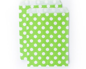 Lime Green Polka Dots fancy Paper Bags (Set of 12) - Goodie bags, Favor Bags, Favor Bags , First Birthday, Kids party