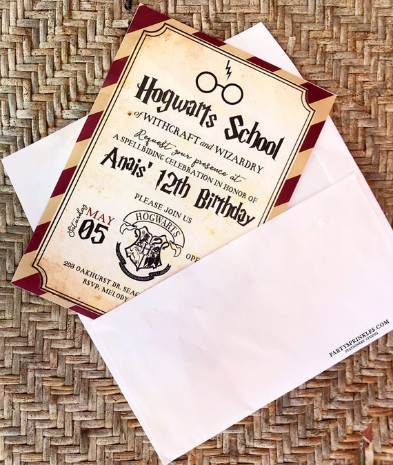 Custom Harry Potter Inspired Birthday Party Invitation