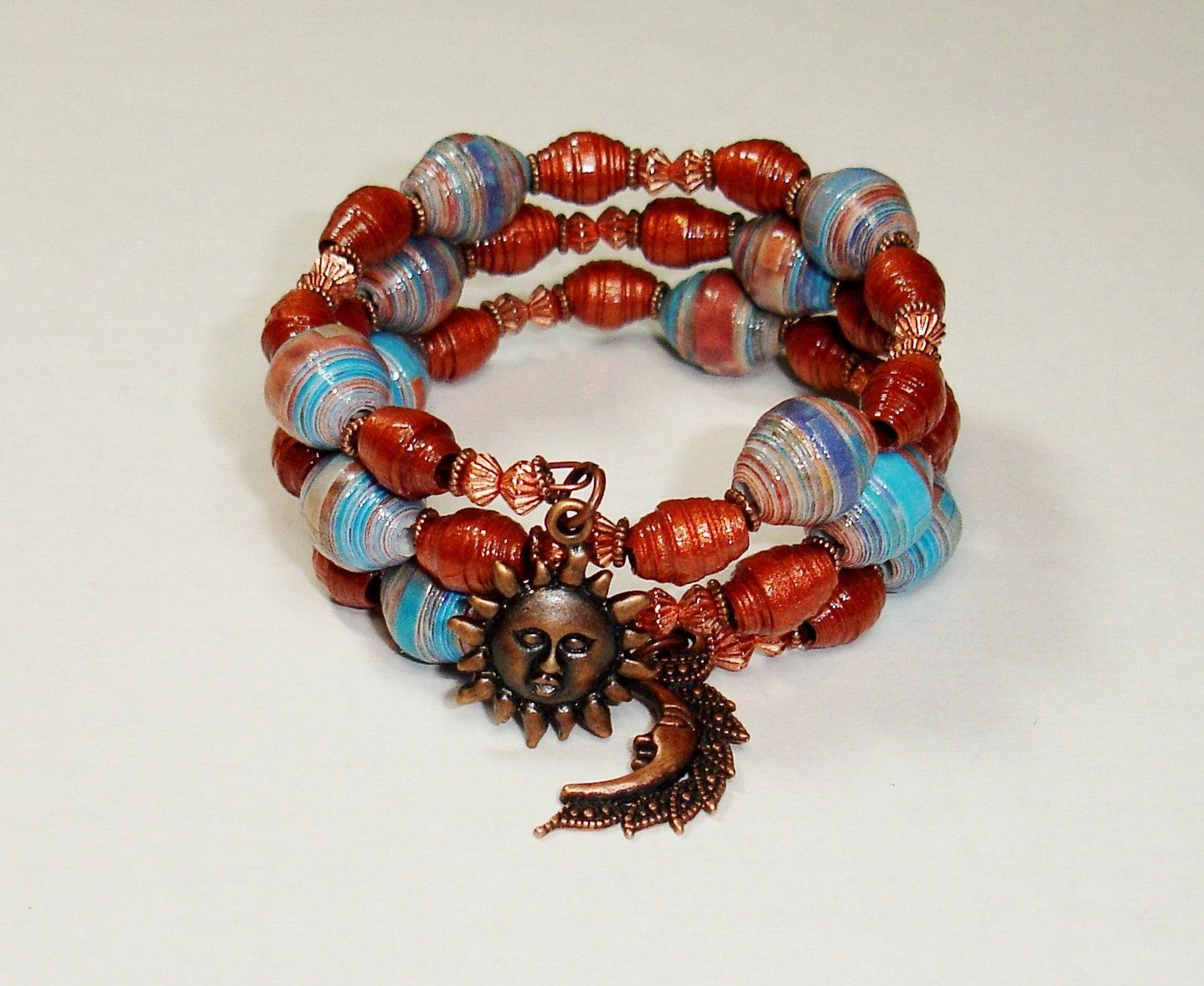 Paper Bead Bracelet Handmade Memory Wire Jewelry Blue | Etsy