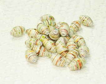 Paper Beads, Loose Handmade Jewelry Supplies Craft Supplies Irredescent Fall Trees