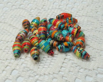Paper Beads, Loose Handmade Jewelry Making Supplies Craft Supplies, Hand Colored, Multi Colored with Black