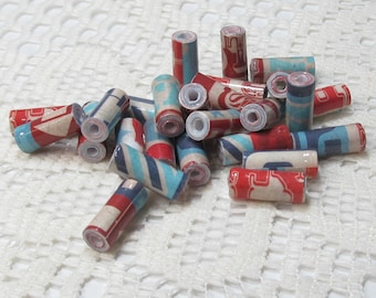 Paper Beads, Loose Handmade Jewelry Making Supplies Craft Supplies Tube Patriotic Words