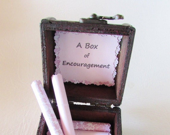 A Box of Encouragement - Encouraging and Comforting Quotes in a Wood Keepsake Box
