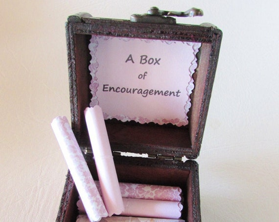 A Box of Encouragement - encouraging quotes in a wood box - get well gift, cancer gift, surgery gift, illness gift, depression gift, breakup