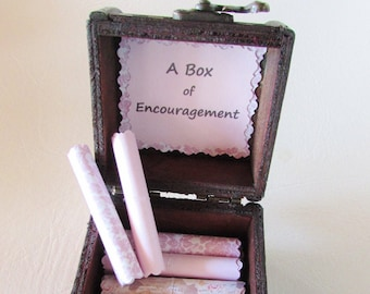 A Box of Encouragement - encouraging quotes in a wood box - inspirational quote, cancer gift, uplifting gift, encouragement gift