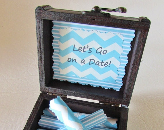 Date Night Box - 12 creative date night ideas in a wood box - let's go on a date, date night scroll box, birthday gift for men, date cards