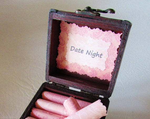 Date Night Scroll Box - Gift for Her - Romantic Date Night Ideas in a Wood Box