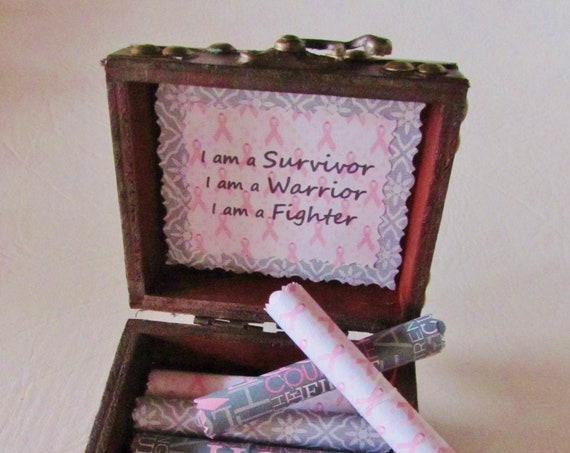 Breast Cancer Scroll Box - Encouraging & Comforting Quotes to Beat Cancer in a Wood Box - Breast Cancer Gift - Cancer Warrior