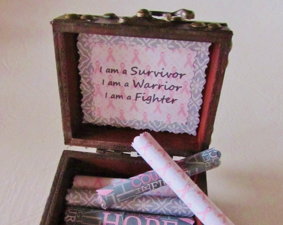 Breast Cancer Scroll Box, Encouraging & Comforting Quotes to Beat Cancer in a Wood Box, Breast Cancer Gift, Beat Cancer Gift