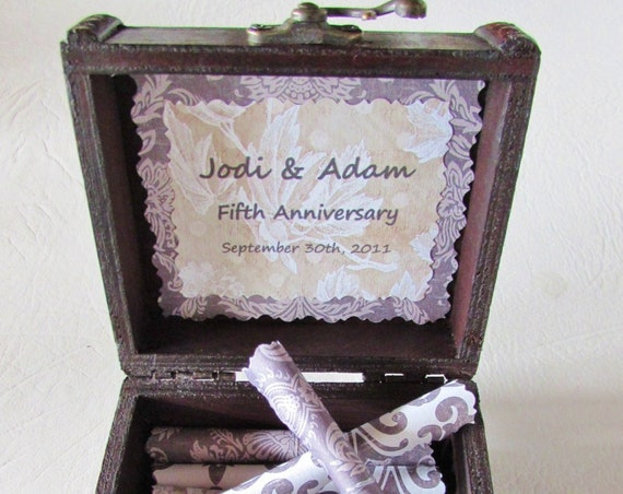 5th Anniversary Gift for HER and HIM, Wood Scroll Box filled with Love Quotes, Wood Anniversary Gift, Fifth Anniversary Gift, Personalized