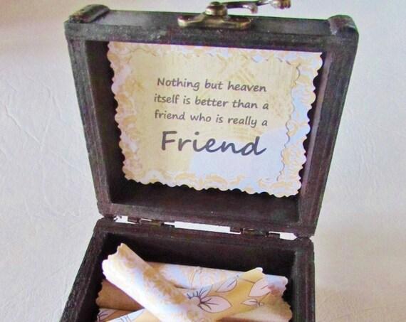 Friend Scroll Box - Sweet friendship quotes in a cute wood box - Friend Gift Idea - Friend Birthday Gift - Friend Christmas - Friend Goobye