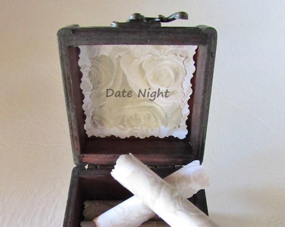 Date Night Scroll Box - 12 date night ideas in a cute wood box! Gift for Her - Christmas Gift - Birthday Gift for Her - Anniversary Gift