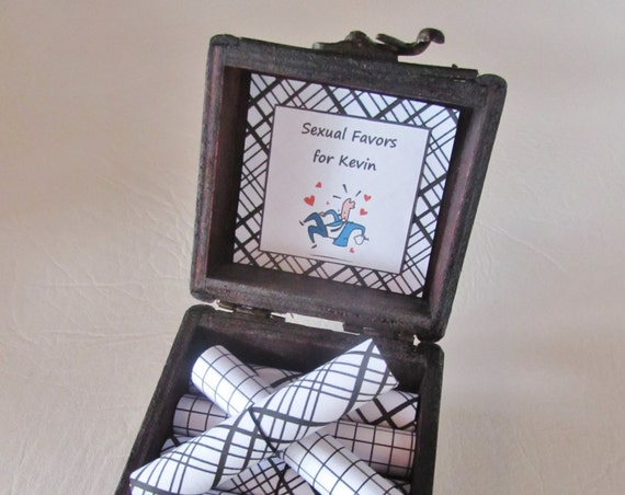 Sexual Favors Box, sex coupons in a wood box - Valentines Gift for him - Gift for Him - Coupon Book - Gift for Boyfriend - Gift for Husband