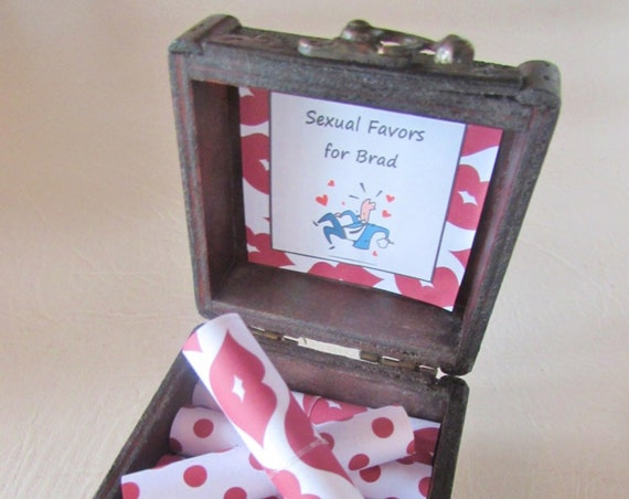Valentine Gift for HIM, Coupon Book, Sexual Favors in Wood Box, Birthday Gift for HIM, Anniversary Gift for HIM, Sexy Gift, Naughty Gift