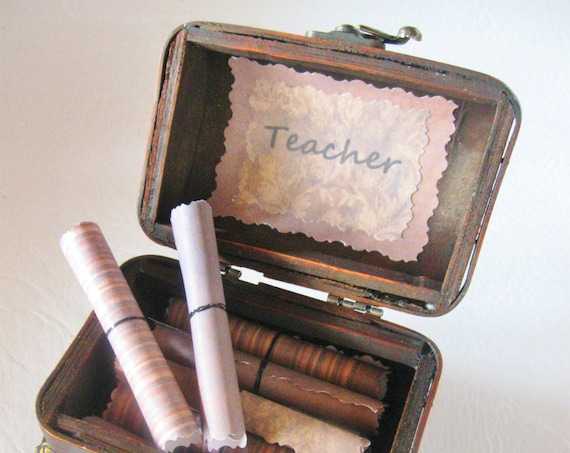 Teacher Scroll Box - Teacher Quotes in a Beautiful Wood Treasure Chest - Teacher Gift - Teacher Appreciation - Teacher Birthday