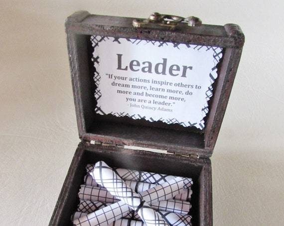Boss Scroll Box - Leadership Quotes in a Wood Box - Boss Gift - Boss Day Gift - Boss Birthday Gift - Boss Christmas Gift