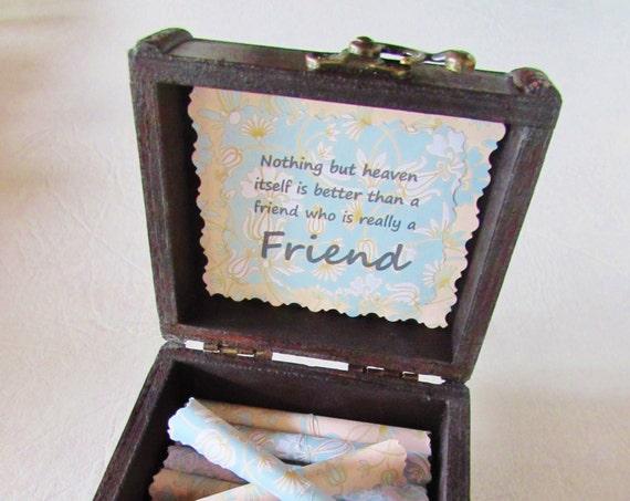 Friend Gift Friend Going Away Gift Best Friend Gift Friendship Quotes in Wood Chest Friend Birthday Gift Best Friend Long Distance Gift