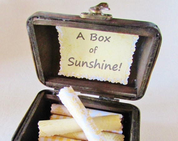 A Box of Sunshine - 21 Inspirational Quotes in a Beautiful Wood Treasure Chest - Friend Gift - Get Well Gift - Encouragement Gift