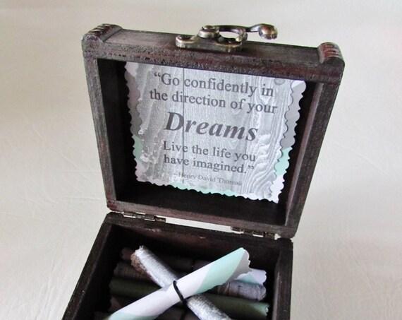 Graduation Quote Box - Inspiring Quotes in a Wood Emblem Box - Grad Gift