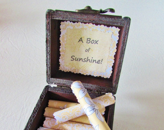 A Box of Sunshine - Sunny and Encouraging Quotes in a Wood Box