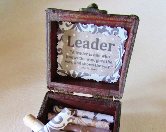 Leadership Scroll Box, Leadership Quotes in a Wood Box, Boss Day Gift, Boss Birthday Gift, Leadership Gift, Promotion Gift