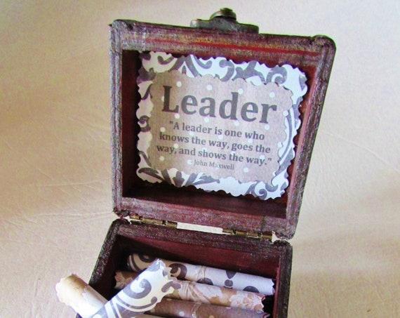 Leadership Scroll Box - Boss Gift Idea - Leadership Quotes in a Wood Chest - Boss Christmas, Boss Birthday, Leadership Team Gift, Boss Woman