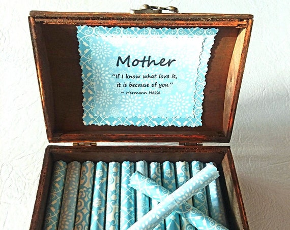 Mother Scroll Box - sweet quotes about moms in a keepsake jewelry box - mom quote box, mother quote, mothers day gift, to mom from son
