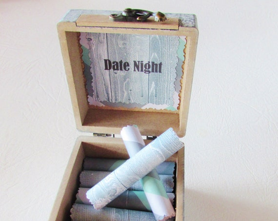 The Date Night Scroll Box, 18 Unique & Fun Date Night Ideas in a Wood Box, Gift Idea for HIM, Boyfriend Gift, Husband Gift, Birthday Gift