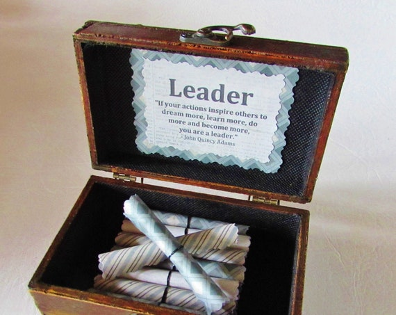 Leadership Scroll Box - Leadership Quotes in a Wood Box