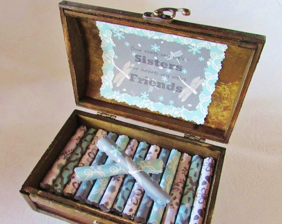 The Sister Scroll Box - Sister Quotes in a Wood Keepsake Treasure Chest