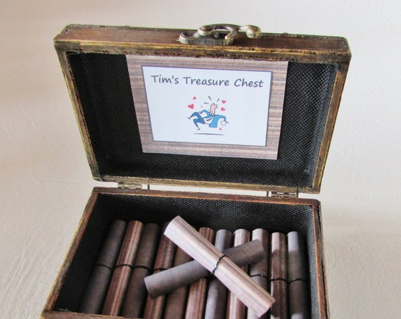 A Treasure Chest of Fun for HIM, Date Night Ideas AND Sexual Favors in Wood Chest, Birthday Gift, Anniversary Gift, Valentine Gift, Coupons