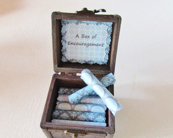 A Box of Encouragement, Comforting and Enouraging Quotes on Scrolls in a Wood Box, Cancer Gift, Get Well Gift