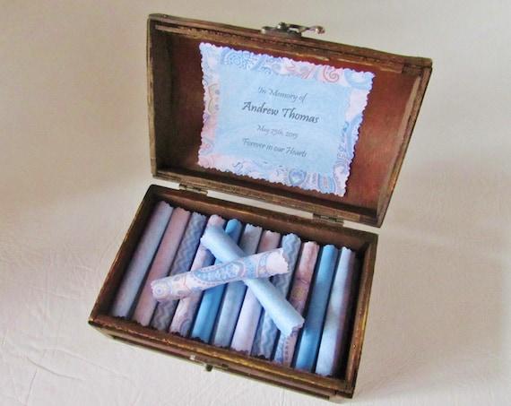 Baby Loss Scroll Box - Comforting Quotes about Grief in a Beautiful Wood Keepsake Box - Stillbirth Gift - Baby Loss Gift - Stillborn