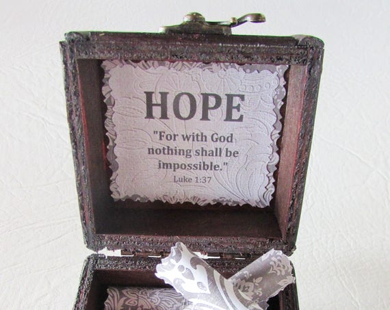 Get Well Gift, Hope Bible Box, Cancer Gift, Breast Cancer Gift, Inspirational Bible Verses in Box, Cancer Encouragement, Bible Verses