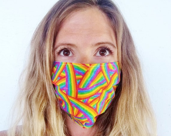 Rainbow Face Mask - Pride Face Mask - Reusable Face Mask - 100% Cotton Face Mask - Washable Face Mask - Face Covering  - Made in the USA