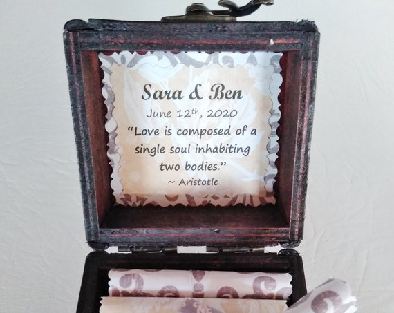 Love Scroll Box - Romantic love quotes in a wood chest - Anniversary Gift Idea for Her - 5th Anniversary - 1st Anniversary - Wood Gift