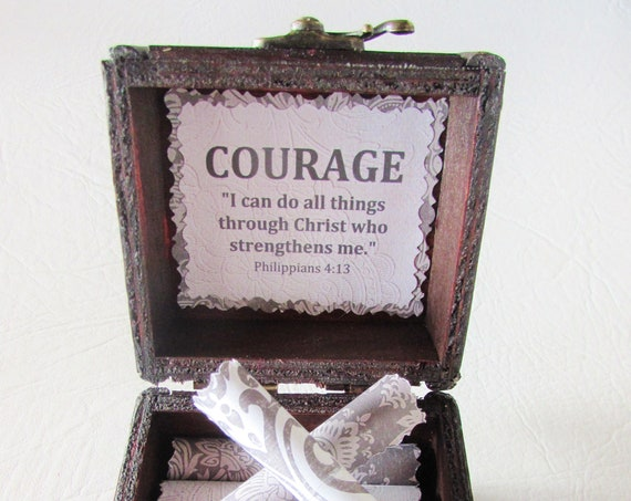 Courage Verse Bible Box - Uplifting, Encouraging Bible Verses on Scrolls in a Wood Box - Get Well Gift, Bereavement Gift