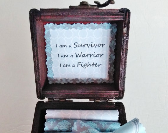 Survivor Scroll Box - Encouraging quotes in a wood box - Cancer Gift - Prostate Cancer Gift - Breast Cancer Gift - Lung Cancer - Ovarian