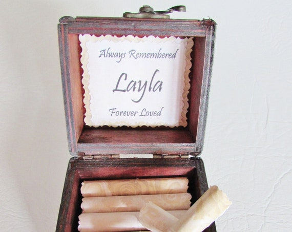 Baby Loss Scroll Box - comforting quotes in a wood chest - stillbirth gift, stillborn gift, miscarriage gift, baby loss gift, loss of baby