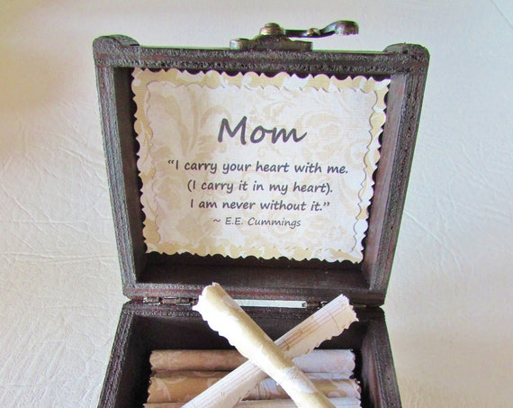 Mom Scroll Box - mothers day gift box, 70th birthday gift for mom, groom gift to mom, gifts for mom from daughter, mother of the bride gift