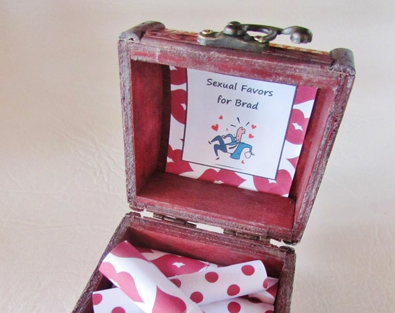 Sex Coupon Box - Naughty Sex Coupons in a Wood Box - Kinky Sex Coupons - Kinky Valentine