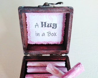 A Hug in a Box Caregiver Gift - uplifting quotes in a wood box - caretaker gift - husband cancer - wife cancer - parent caregiver