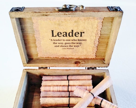 Leadership Scroll Box - Inspiring Leadership Quotes on Scrolls in a Cedar Wood Chest - Boss Gift for Men, Christmas Gift for Boss, Boss Day
