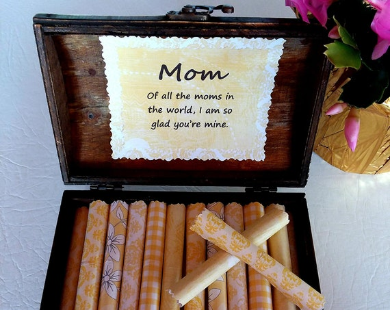 Mom Scroll Box - Sweet quotes about moms in a wood jewelry box - Birthday Gift for Mom, Mother's Day Gift, Christmas Gift, Personalized