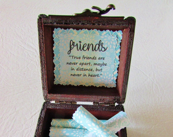 Long Distance Friendship - Friend Goodbye Gift - Friend Scroll Box - Friend and Long Distance Quotes in a Wood Box - Friend Gift