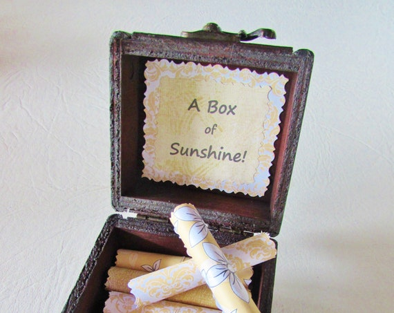 A Box of Sunshine, Sunny and Inspriational Quotes in a Wood Box, Graduation Gift, Get Well Gift, Motivational Gift, Encouragement Gift